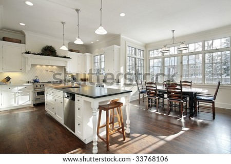 Kitchen in upscale home - stock photo