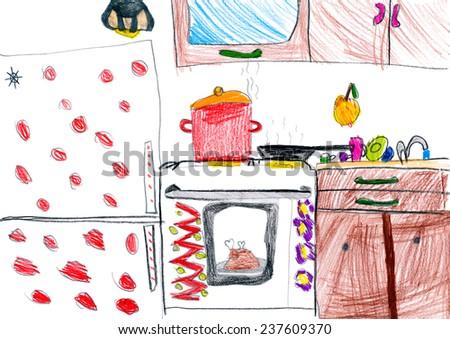 kitchen interior. children drawing. - stock photo