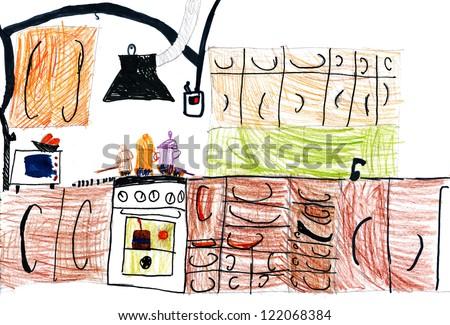 kitchen interior. children's drawing. - stock photo