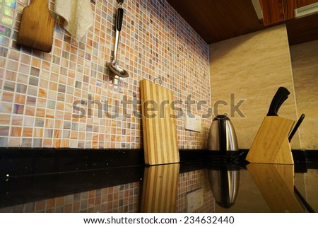 Kitchen interior in family house - stock photo