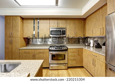 Kitchen interior in modern apartment. Steel back-splash trim blend perfectly with steel appliances