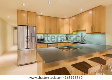 Kitchen Interior, Modern Design Architecture, Luxury Home - stock photo