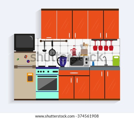Kitchen interior with furniture in flat style. Design elements and icons: utensils, tools, cabinets, microwave, pot, tv, fridge, oven. Modern illustration.