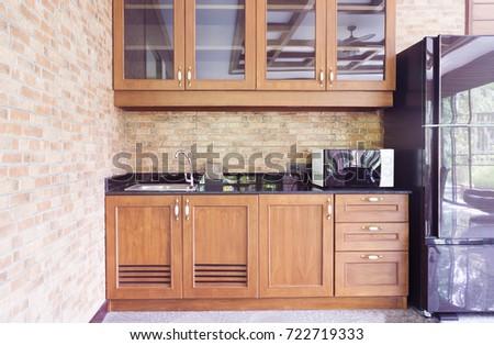 kitchen interior microwave wood showcase cabinet stock photo (edit