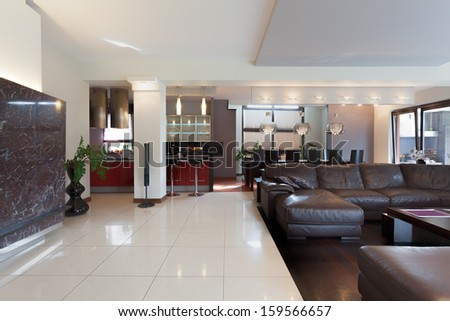 Kitchen, living room and dining room in modern house