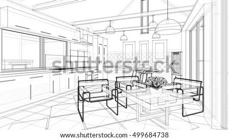 Line Sketch Interior Living Room Stock Vector Shutterstock