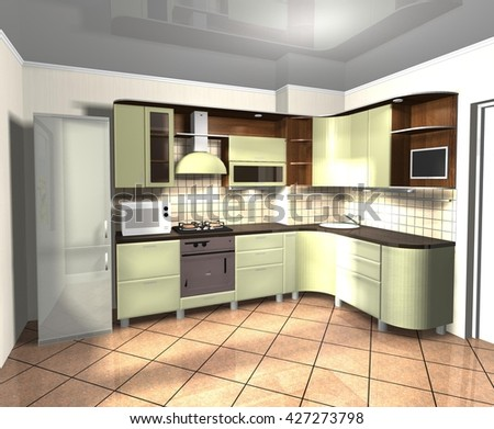 kitchen modern green brown wooden 3D rendering