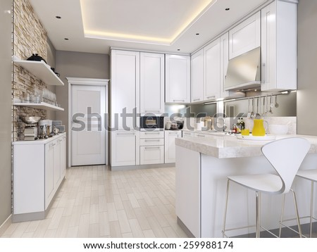 kitchen modern style, 3d images - stock photo
