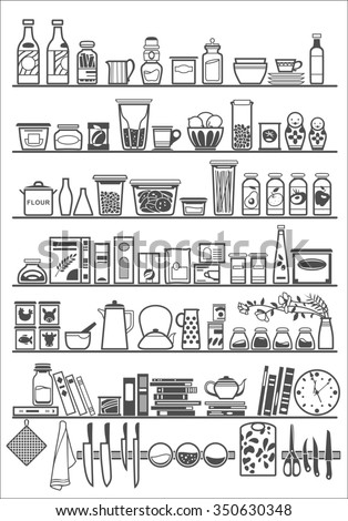 kitchen or pantry shelves with goods, raster copy - stock photo