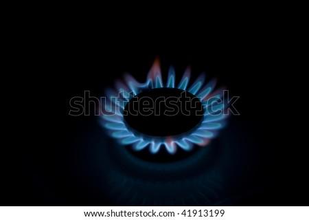Kitchen oven burning gas - stock photo