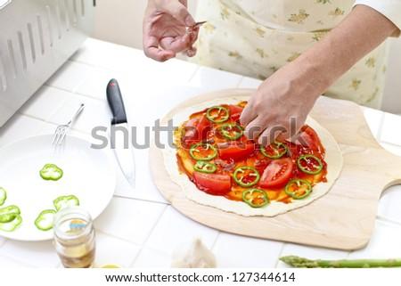 Kitchen, pizza, make - stock photo