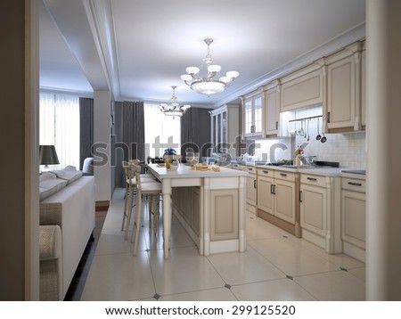 Kitchen provence style. Custom designed white kitchen with large center island with bar. 3D render