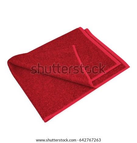 Kitchen red towel. Isolated on white. 3D illustration
