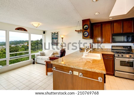 Kitchen room  cabinet with sink. View of glass wall living area