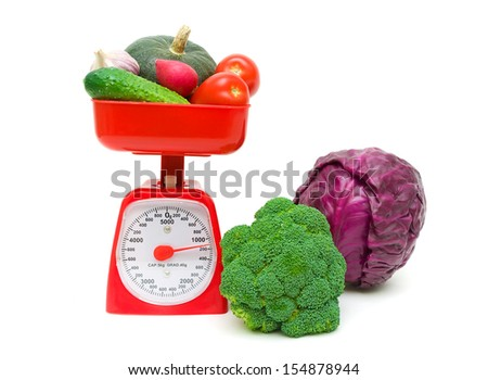 kitchen scale and vegetables close-up isolated on a white background. horizontal photo. - stock photo