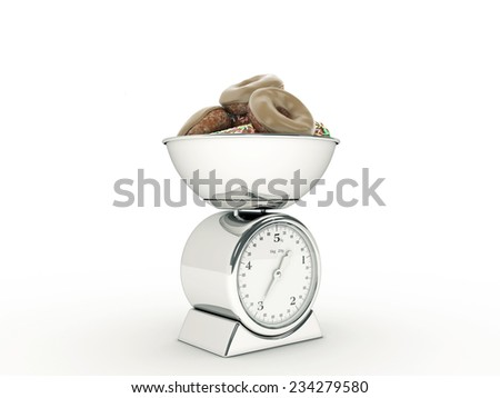 kitchen scale with giant donut - stock photo