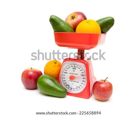 kitchen scales and fresh fruits isolated on a white background. horizontal photo.