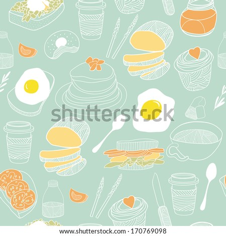 Kitchen seamless background. Hand drawn pattern for backgrounds, fabric, kitchen and cafe stuff - stock photo