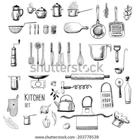 Kitchen set. Large collection of hand - drawn  kitchen related objects on white background.  - stock photo