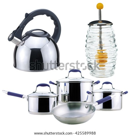 Kitchen set. whistling kettle, metal, glass jar, honey, isolated on white background. tea, serving, set the table, tableware kitchen accessories. pots, pans, cooking, food cooking,  kitchen utensils - stock photo