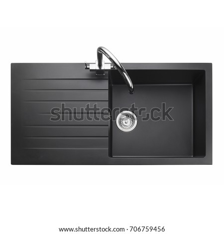 kitchen sink top view. Kitchen Sink Isolated On White Background. Black Single Bowl Inset Sink. Top. View Preview Top I