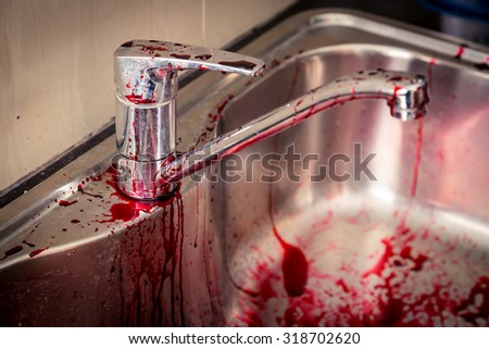 Kitchen sink  with blood for halloween ( Filtered image processed vintage effect. ) - stock photo