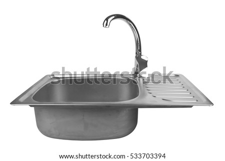 kitchen sink clipart black and white. kitchen sink with tap isolated on white background clipart black and