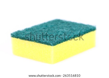 Kitchen Sponge for dish cleaning isolated on white - stock photo