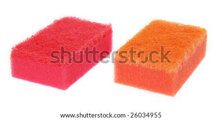 Kitchen sponge isolated on white - stock photo