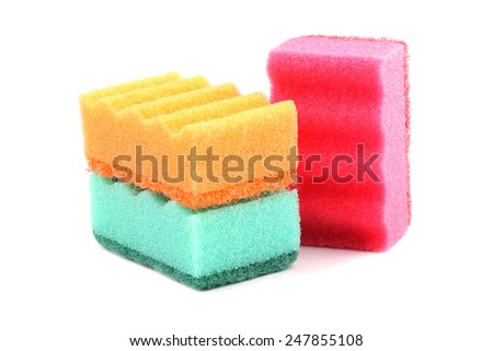Kitchen sponges isolated on white background - stock photo