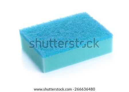 Kitchen sponges isolated on white background. - stock photo