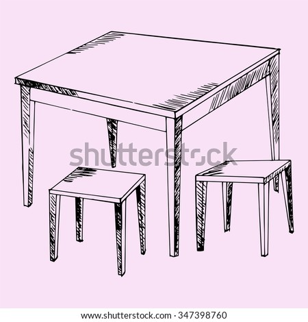 kitchen table and chairs, doodle style, sketch illustration, hand drawn, raster - stock photo