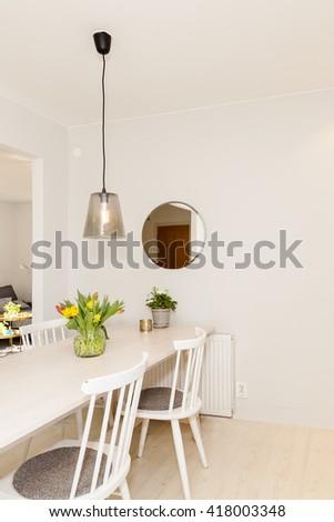 kitchen table interior - stock photo