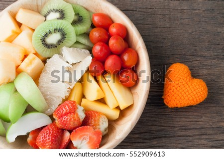Kitchen Table Variety Fruits On Wood Stock Photo 552909613