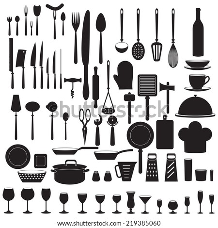 Kitchen tool icons set. Food and drink design elements. - stock photo