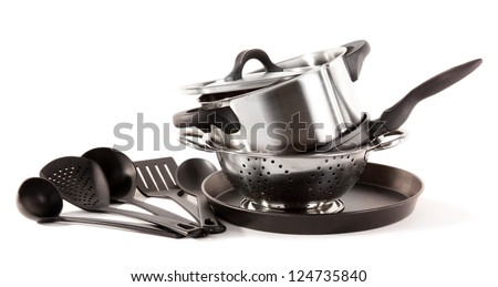 kitchen tools isolated on white - stock photo
