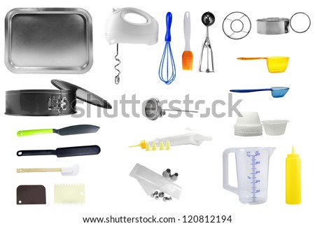 Kitchen tools isolated over white background - stock photo