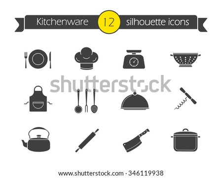 Restaurant Kitchenware vector kitchen restaurant culinary icons chef stock vector