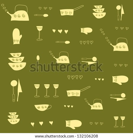 Kitchen tools.  Vector illustration - stock photo