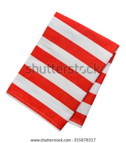 Kitchen towel striped cloth set isolated on white background.