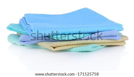 Kitchen towels isolated on white - stock photo