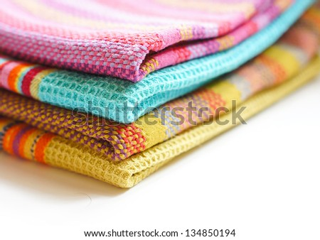 Kitchen towels on the white background - stock photo