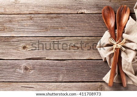Kitchen utensil over wooden table background  View from above with copy  space. Old Wood Table Stock Images  Royalty Free Images   Vectors