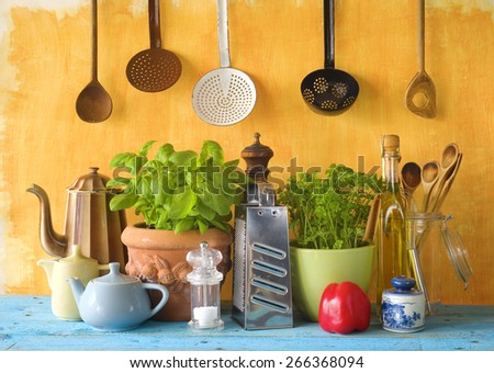 kitchen utensils and food ingredients, cooking concept - stock photo