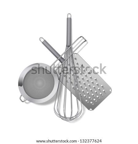 White Kitchen Utensils chrome kitchen utensils whisk spatula masher stock illustration