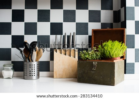 Kitchen utensils, decor and kitchenware in the modern kitchen interior close-up - stock photo