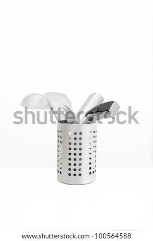 White Kitchen Utensils kitchen utensils utensil holder isolated gun stock photo 101124691