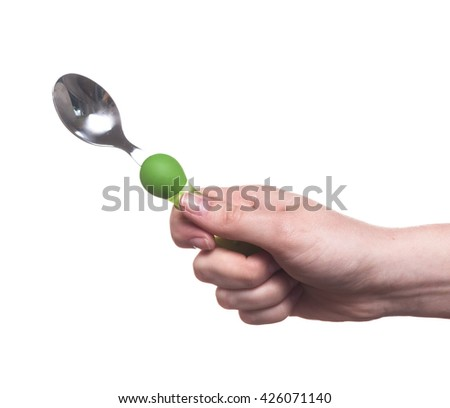 kitchen utensils in the hand of women isolated on white background - stock photo
