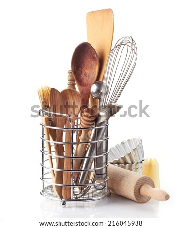 kitchen utensils isolated on a white background - stock photo