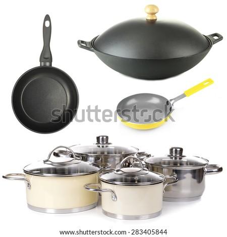 Kitchen utensils isolated on white - stock photo